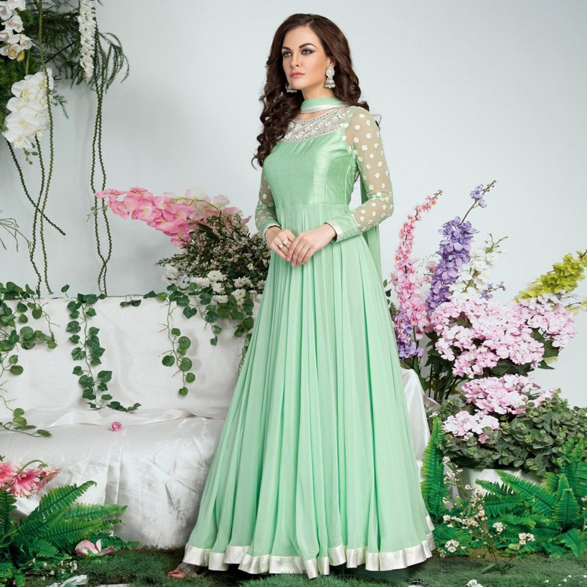 Buy Mint Green Georgette Anarkali Suit for womens online India, Best Prices, Reviews - Peachmode