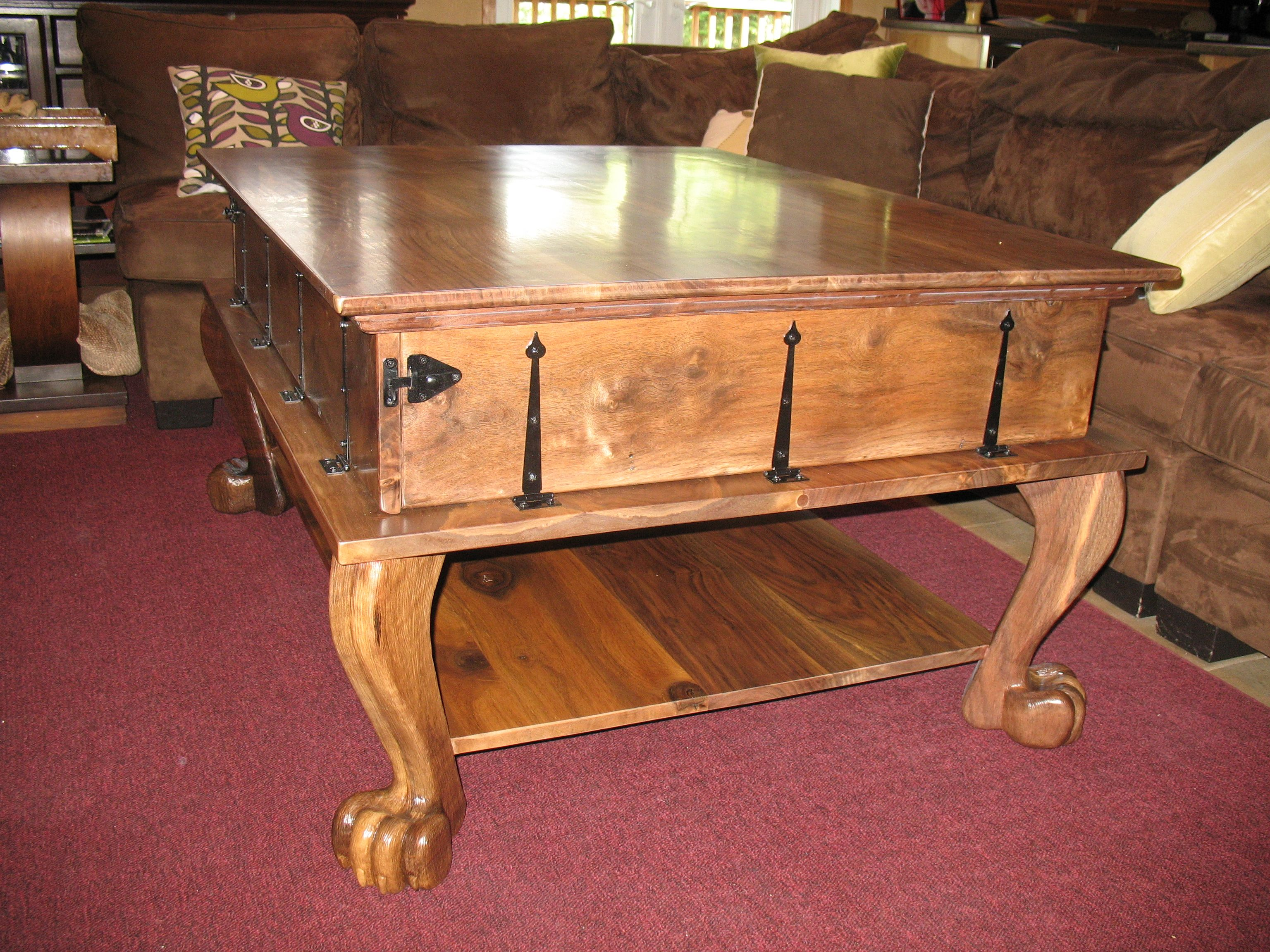 Claro walnut - 3 tier coffee table with removable top and folding sides SOLD