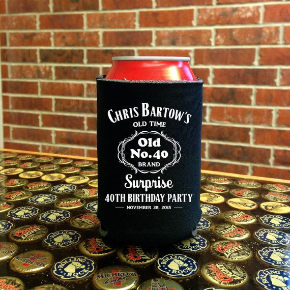 jack daniels inspired can coolers beer and drink koozies personalized party favor birthday bachelor party
