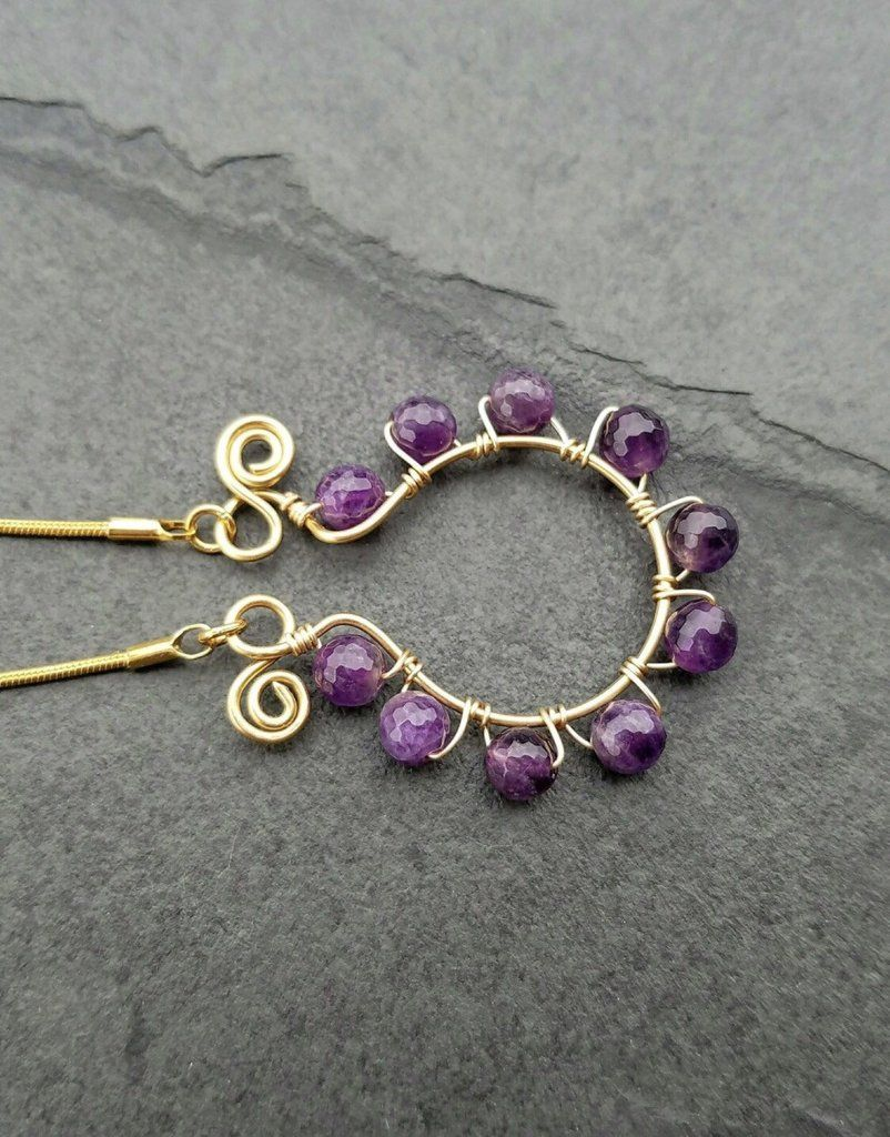 Amethyst Gold Necklace Purple Jewelry for Woman | Beading ...