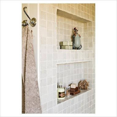Shelving in the wall brick itself in a bathroom fittex for Bathroom alcove ideas