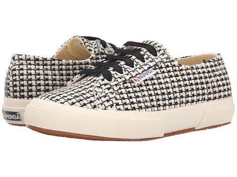 Womens Shoes Superga 2750 Waved Tweed Black/Off White