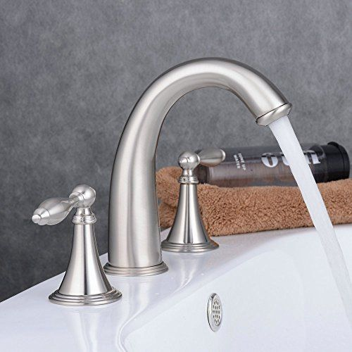 Bathroom Faucets Diy Ollypulse 8 Inch 3 Holes Deck Mount Widespread Double Handles Bathroom Faucet Brushed With Images Bathroom Faucets Brass Kitchen Faucet Faucets Diy