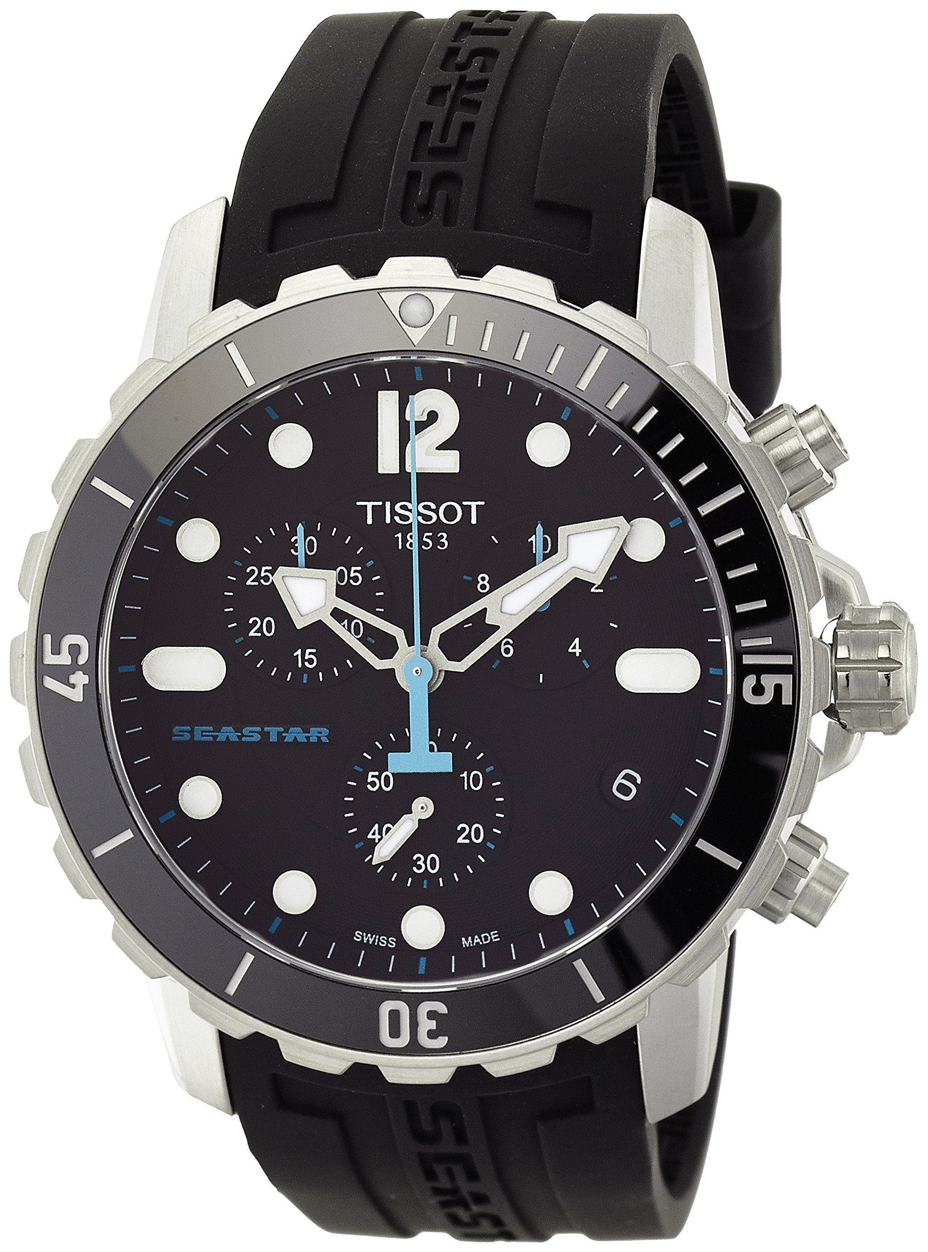 ae1e77b4114 Amazon.com  Tissot Seastar 1000 Chronograph Black Dial Black Rubber Mens  Watch T0664171705700  Tissot  Watches