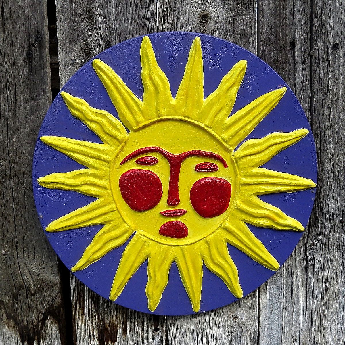 Sunface, concrete wall hanging, plaque, Yard art, Patio decor ...