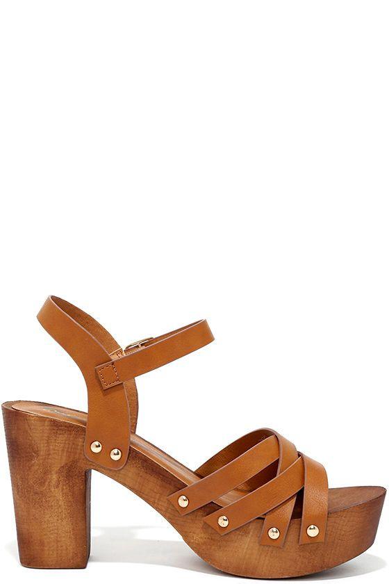 Wood Be Nice Camel Platform Heels at Lulus.com!