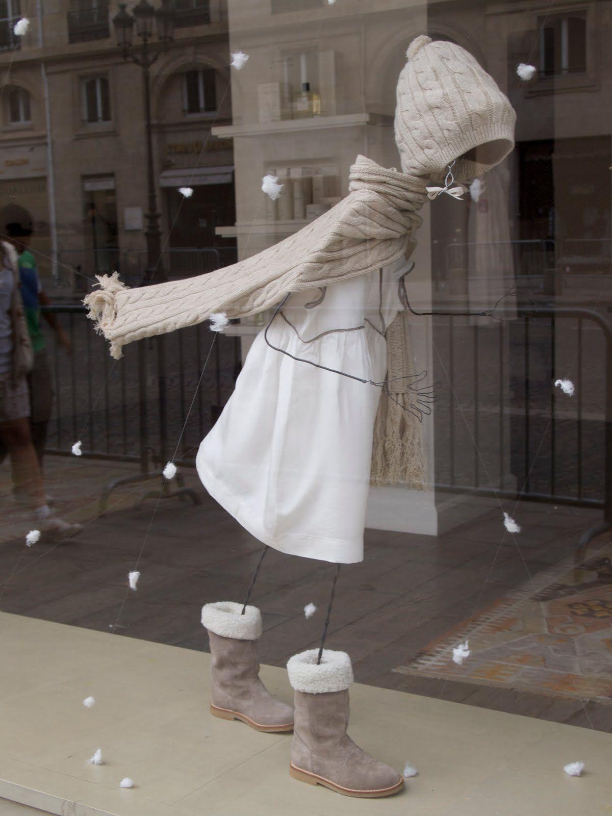 cute wirey mannequin, snowy display..
