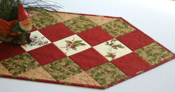 Quilted Table Runner Winter Table Topper Holly by RedNeedleQuilts