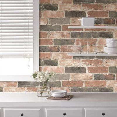Nuwallpaper Newport Reclaimed Brick Peel And Stick Vinyl Strippable Wallpaper Covers 30 75 Sq Ft Nu2064 The Home Depot Brick Wallpaper Faux Brick Wallpaper Faux Brick Backsplash