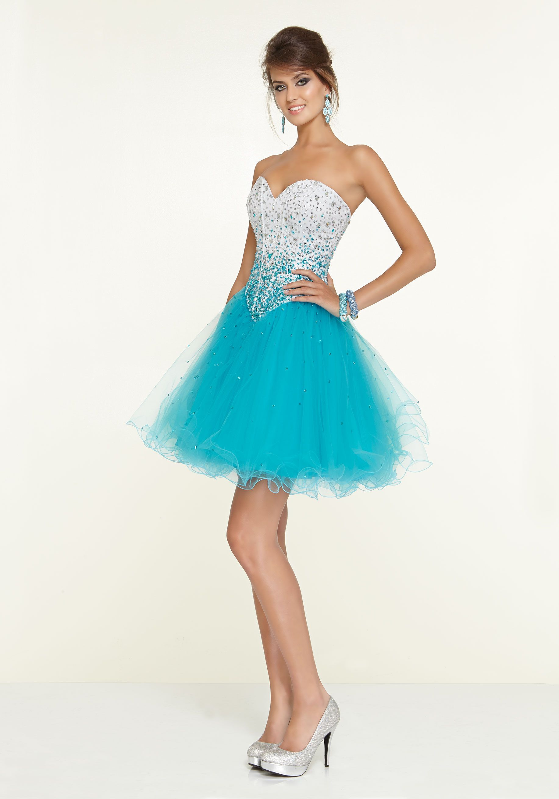 Teal Satin and Tulle Sweetheart Neck with Ombre Beading Party Dress ...