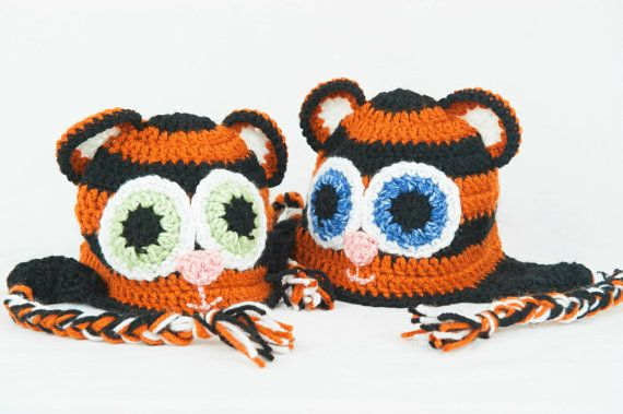 Reserved for Alyssa B: Crochet Toddler Tiger Beanie with Blue Eyes