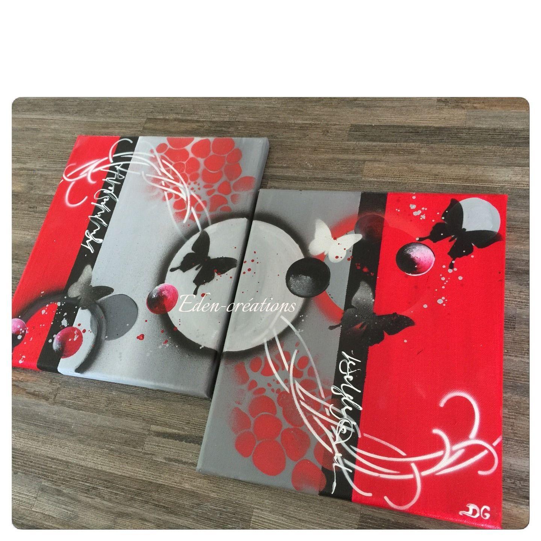 tableau diptyque contemporain rouge gris et noir papillons bulles tendance d corations. Black Bedroom Furniture Sets. Home Design Ideas