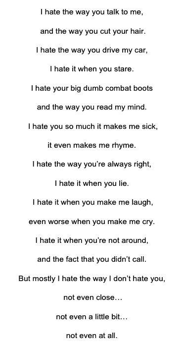 Gedicht 10 Dinge Die Ich An Dir Hasse