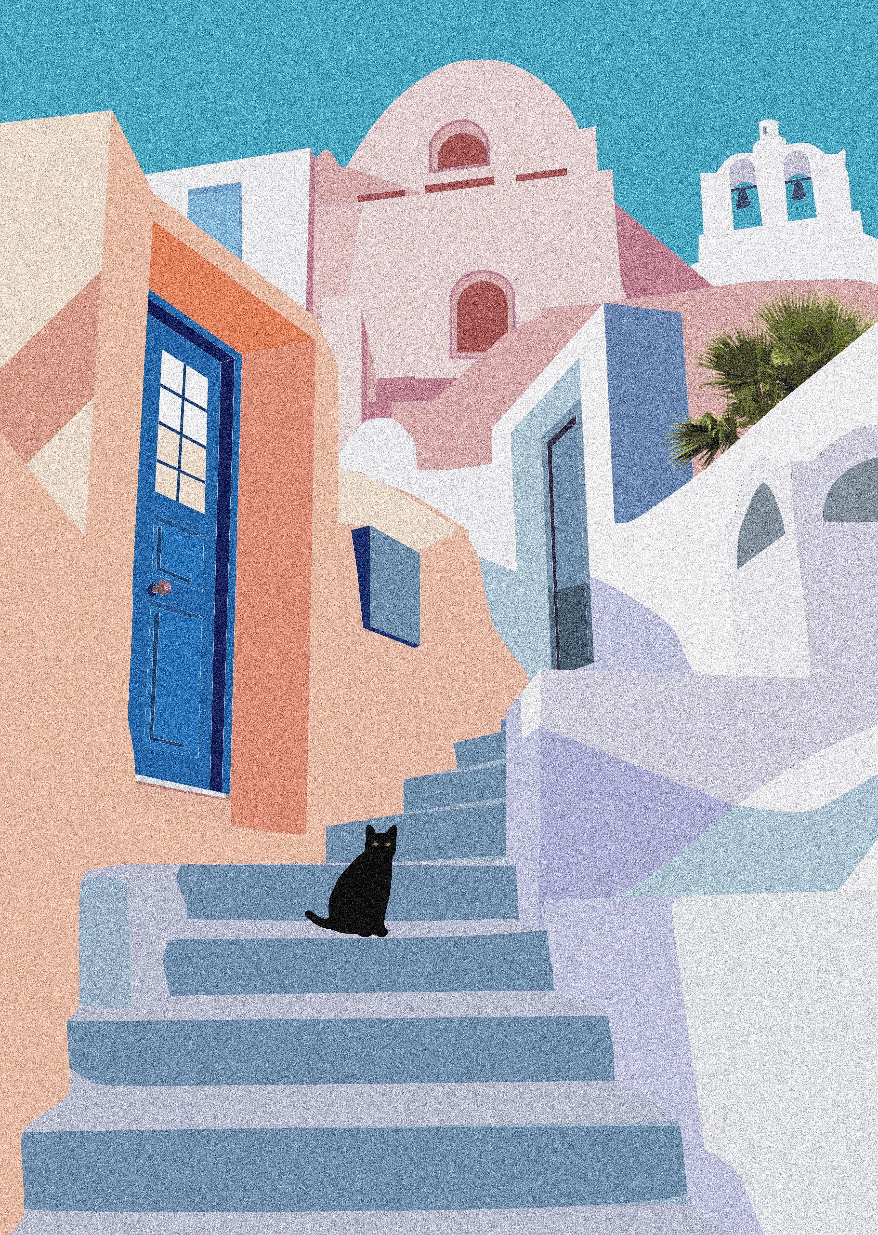 Santorini Cat Print, A4/A3, Geometric Art, Travel Poster, Pastels, Architecture, Greece, Minimal, Island, Tropical, Home Decor, Wall Art ในปี 2020