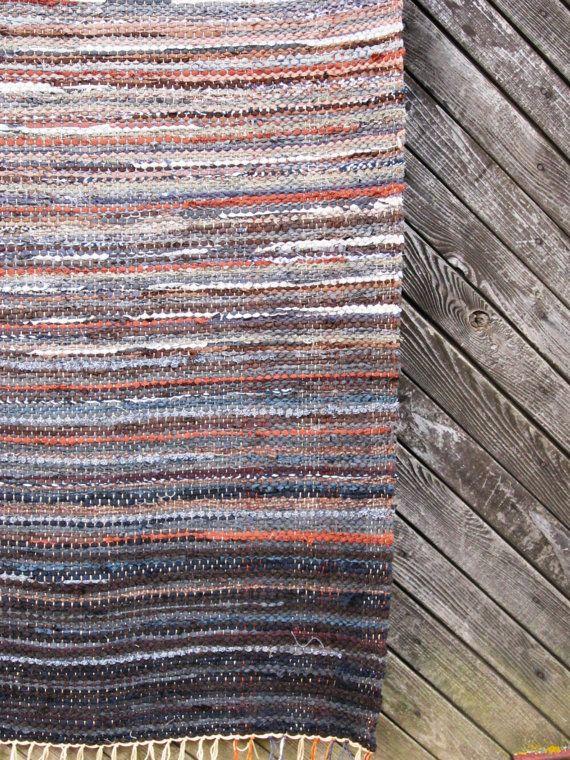 Handwoven Rag Rug 354 X 715 Grey Rock By Gunaspalete On Etsy Rag Rug Diy Rug Weaving Rug