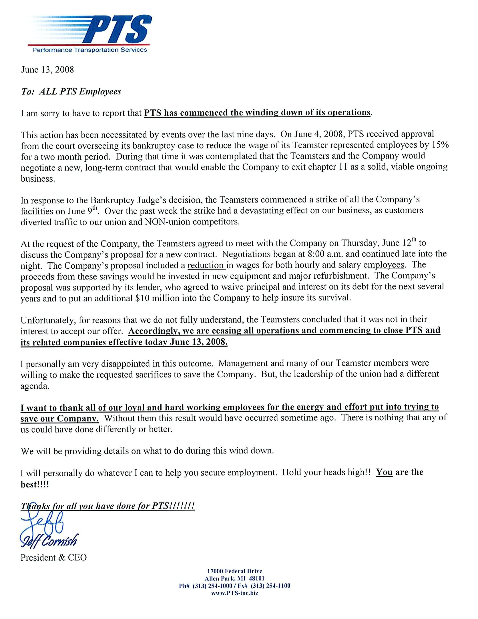 formal business letter closing examples the closing of pts is now official transport foolclosing a 14003