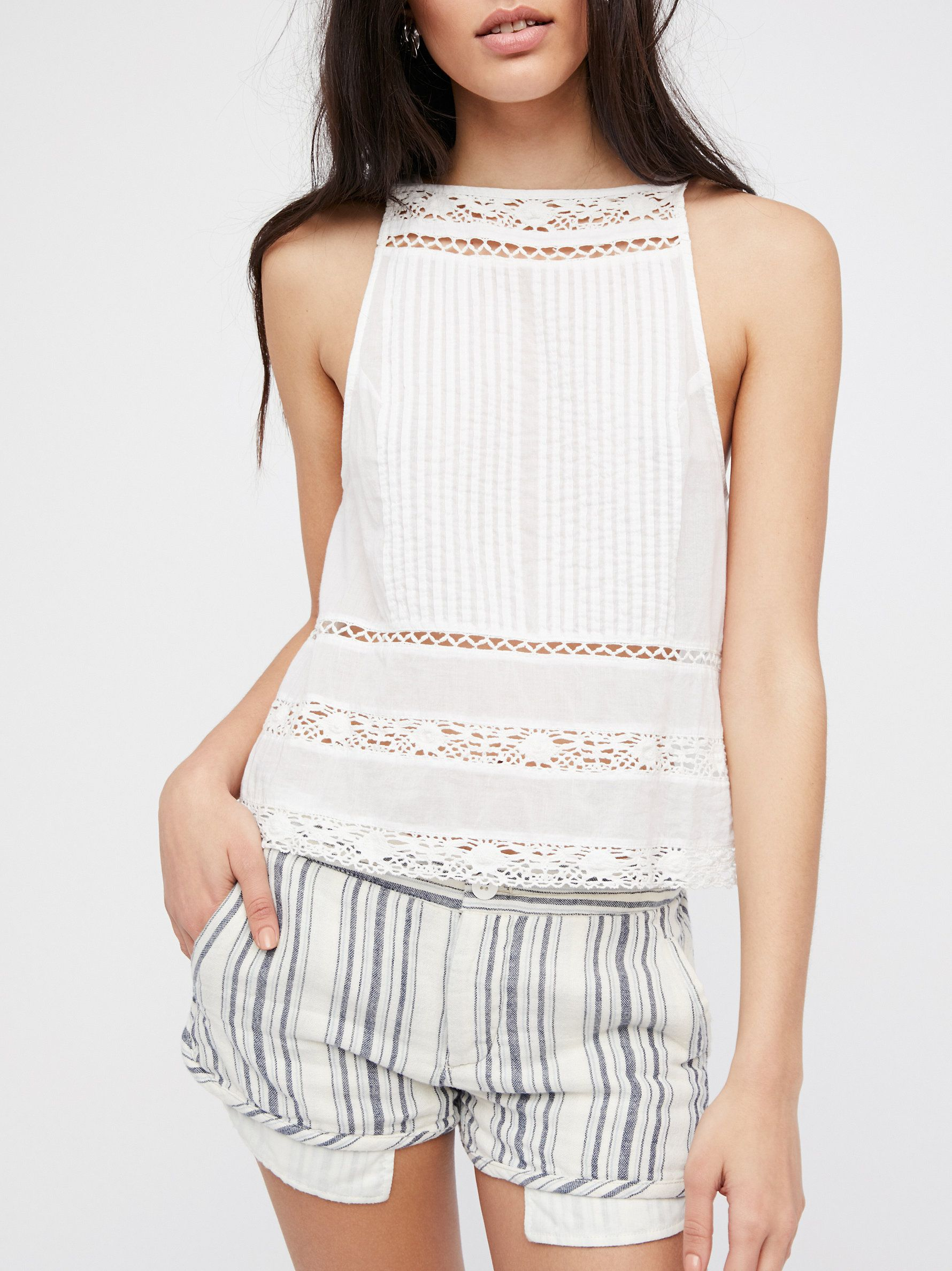 Night Moves Striped Short | Cute mid-rise cotton shorts with a striped print and a relaxed fit.    * Button fly and closure * Four pocket design * Pockets sneak out under hem for a too cool detail