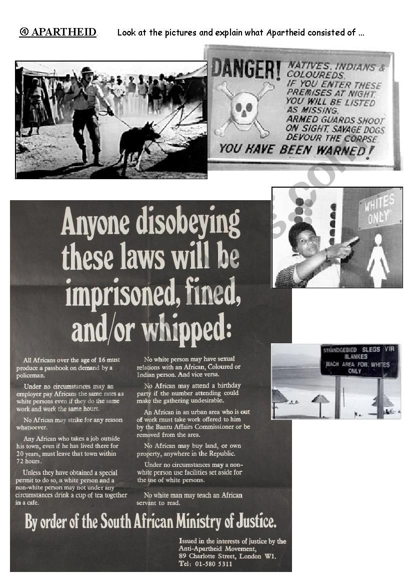 South Africa Apartheid Esl Worksheet By Nanette25 Writing Activitie Essays