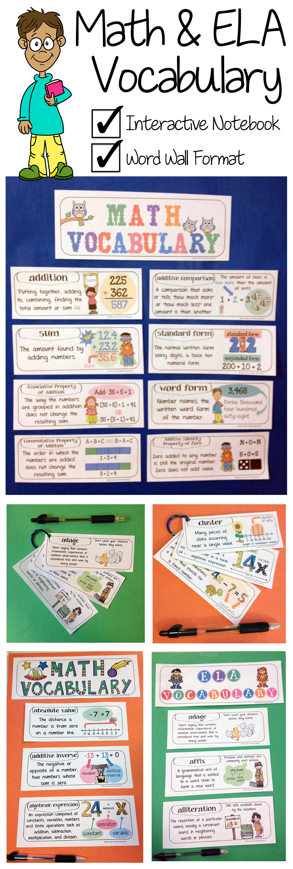 Illustrated Math And English Language Arts Vocabulary Word Walls And Interactive Notebook Online Classroom Teaching Vocabulary Vocabulary Interactive Notebook [ 2804 x 945 Pixel ]