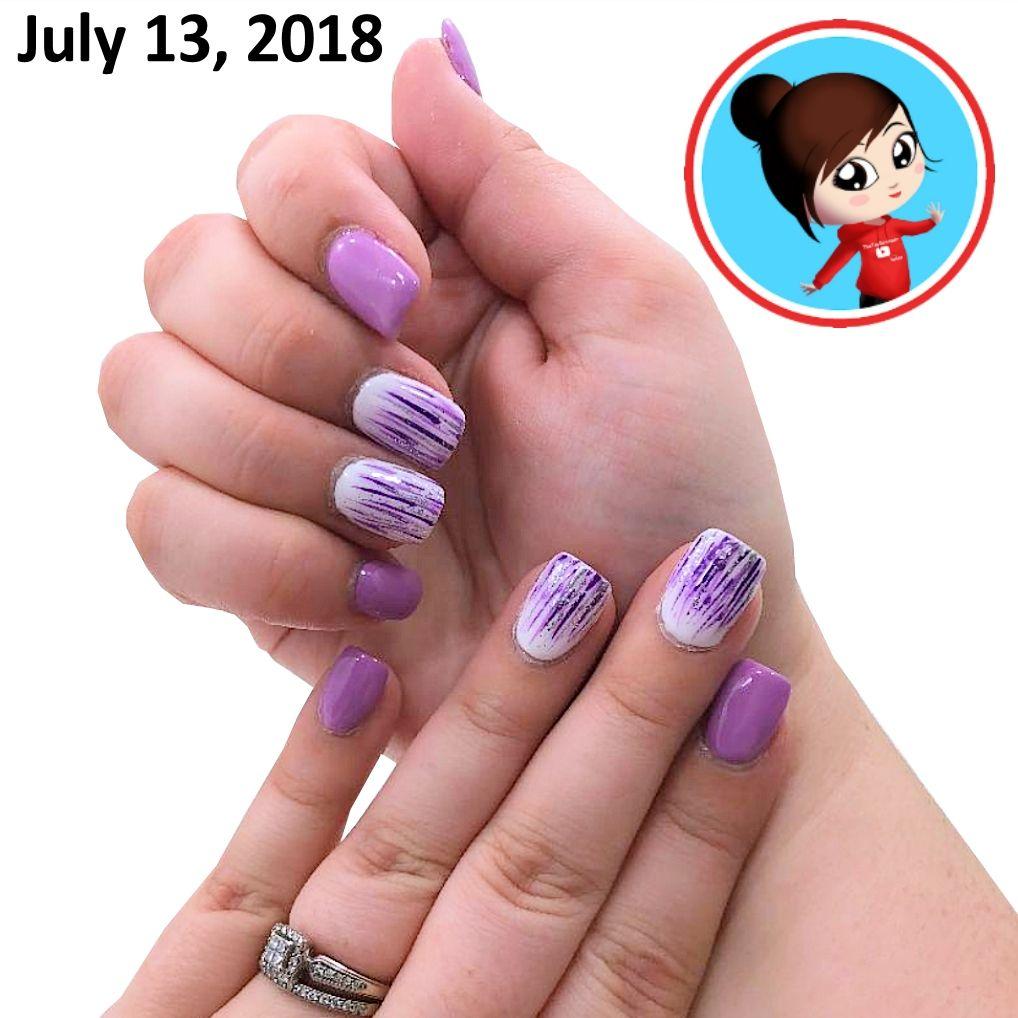 Glitch Holographic Waterfall Nail Art: Purple Waterfall Nail Art Design. In 2019