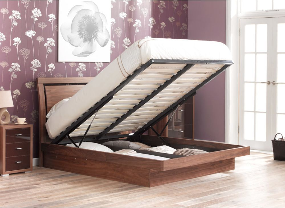 Isabella Walnut Wooden Finish Ottoman Bed Frame Ottoman bed Bed