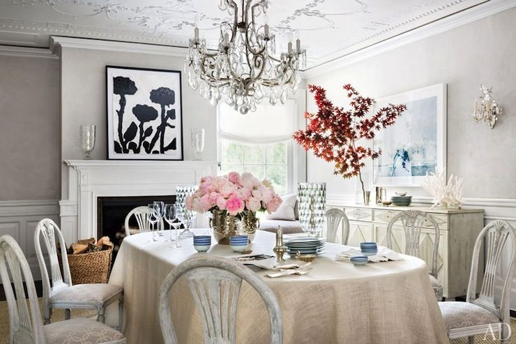 Architectural Digest Dining Rooms Oval Dining Table Linen Tablecloth Distressed White Dining Chairs Home Decor Home Decor