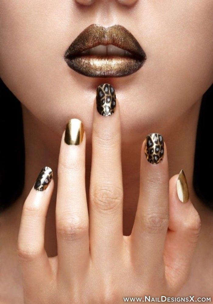 gold leopard nail art » Nail Designs & Nail Art - Gold Leopard Nail Art » Nail Designs & Nail Art Trendy Nail