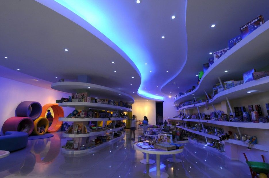 Contemporary Toy Stores With Stunning Interiors: Lighting Ideas In Striking  Toy Store Interior Design Plan