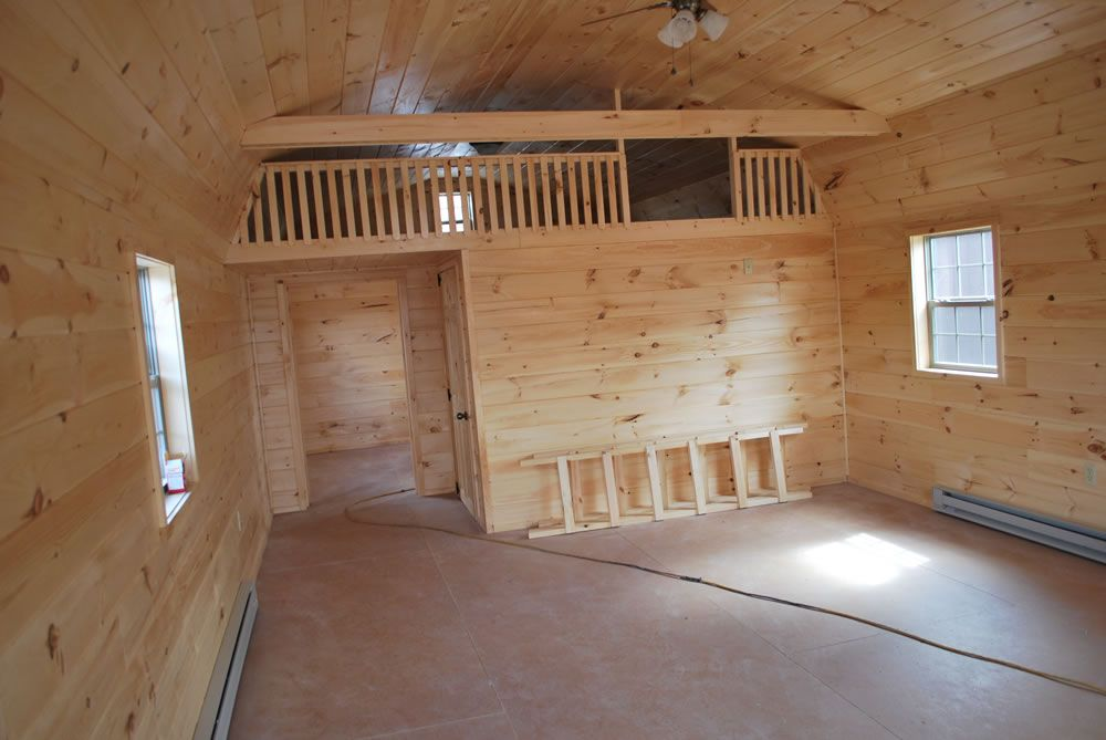 Interior idea for our camping shed tiny house shed for Finished garages interior