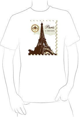PARIS FRANCE HISTORIC EIFFEL TOWER T-shirt rare postal stamp COLLECTORS - A10