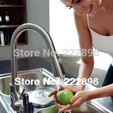 раковина латуни никель щеткой вытащить кухонный кран смеситель водопроводной воды одной ручкой бортике смеситель смесители смеситель для кухни смесители для кухни кран для душа смеситель для  Керамическая катышка плиты