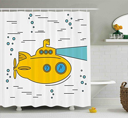 Yellow Submarine Shower Curtain Set By Ambesonne Ocean Nautical Adventure Underwater With Bubbles Porthole Cartoon Shower Curtain Sets Shower Curtain Sizes Striped Shower Curtains