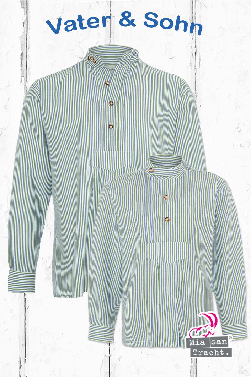 Trachtenstehbundhemd Miasantracht Trachtenlook Trachtenhemd Gestreift Perfekter Kleinen Pfoad Vater Groen Blau Look Sohn Mens Tops Shirts Fashion