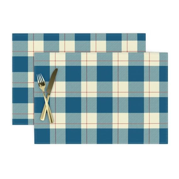 Plaid Placemats (Set of 2) - French Blue Plaid by the_lemon_bee - Buffalo Check  Farmhouse Country N