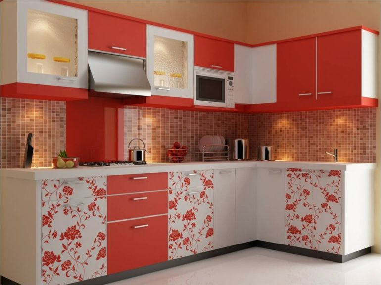 Good Kitchen Design, Exciting Pink Modular Kitchen Design Furniture With Floral  And Brown Square Tile Wall Decor Ideas Feats Red White Cabinetary Also  Modern ...