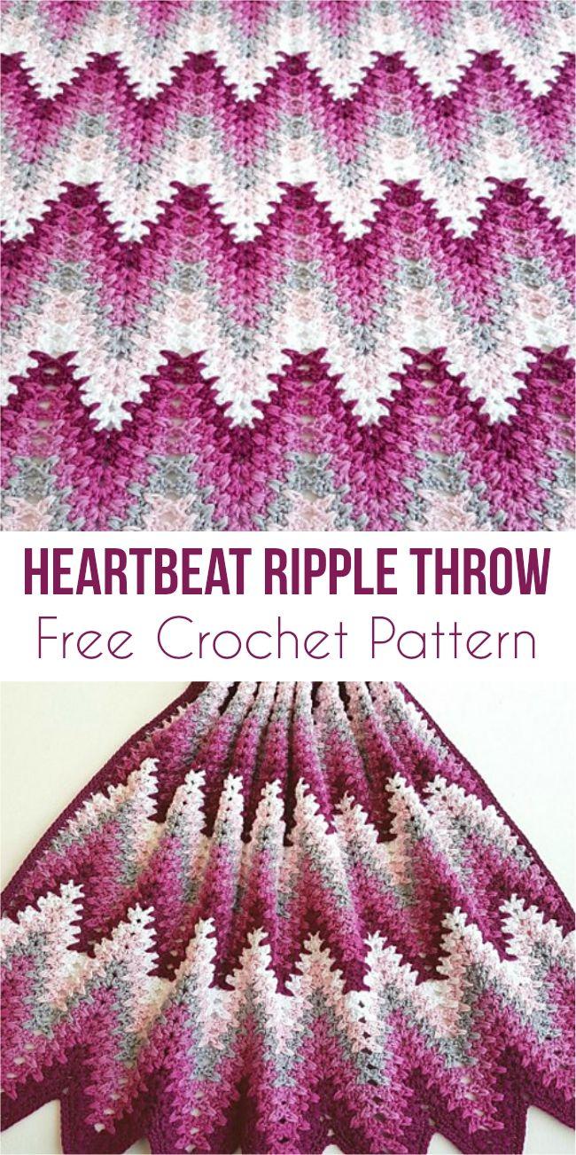Heartbeat Ripple Throw - Free Crochet Pattern | Pinterest ...