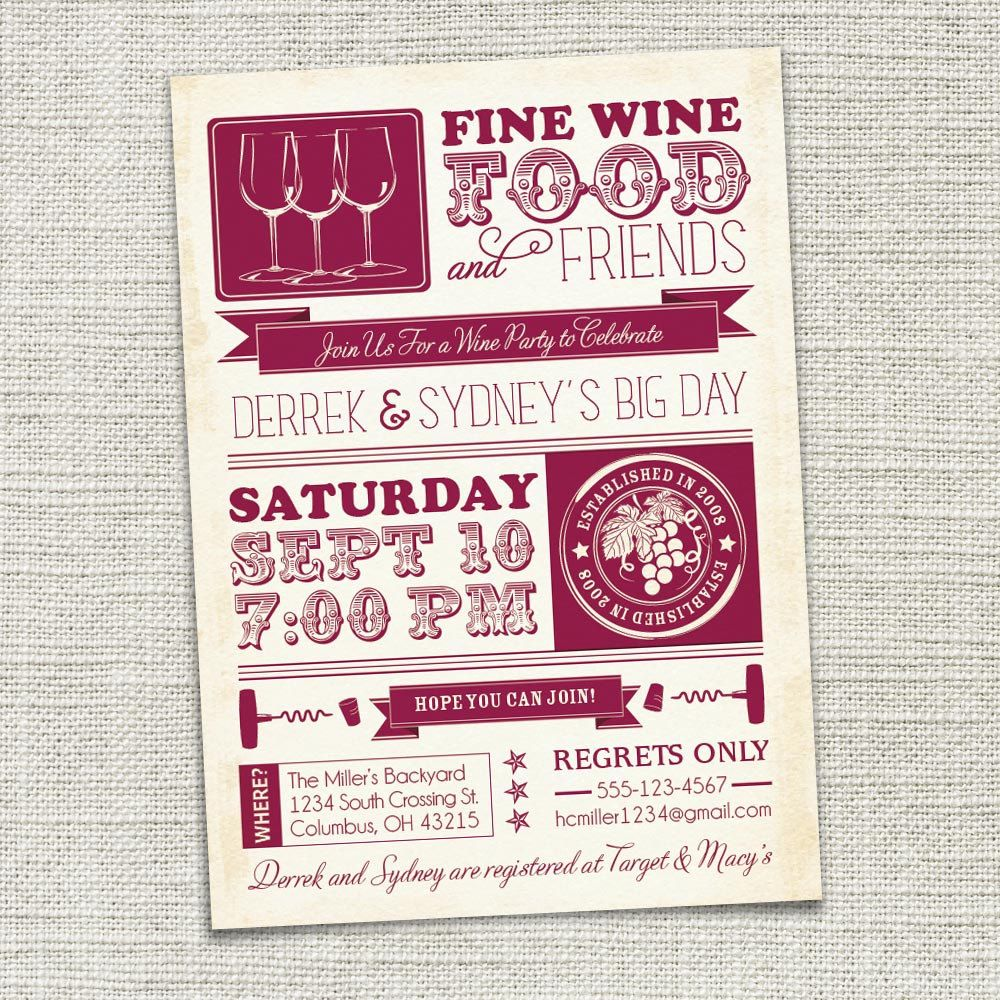 Wine Party Invitation, Wine Tasting, Couples Shower (PRINTABLE ...
