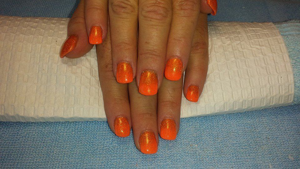 Orange fade out glitter | Nails n Bling | Pinterest
