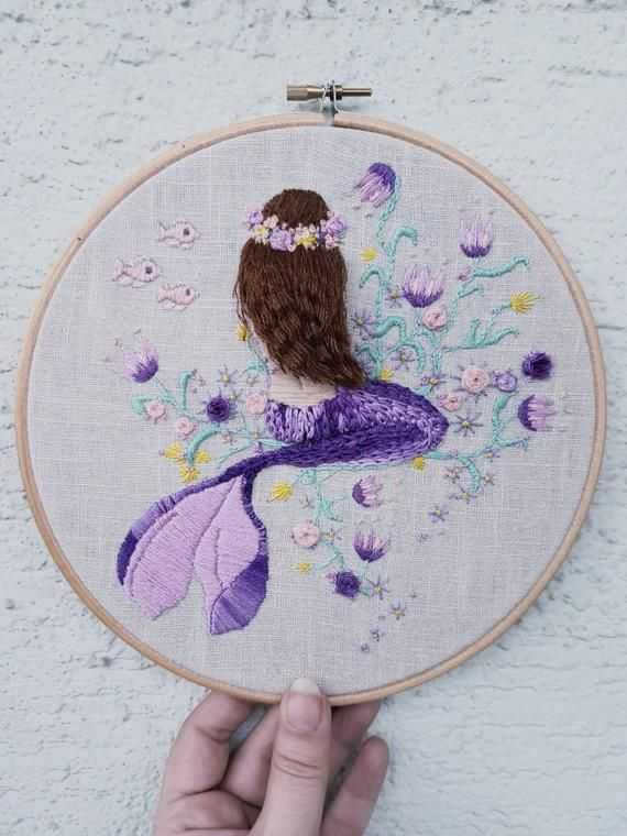 Embroidery mermaid bohemian hoopart flower crown purple Meerjungfrau Stickbild Hippie under water handembroidered art walldecor fish flowers