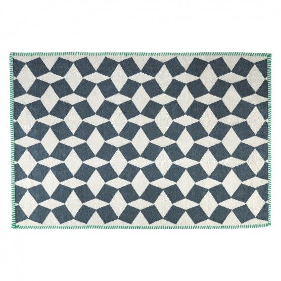 Tiles Medium Black And White Flat Weave Wool Rug 120 X 180cm Flat Weave Wool Rug Tile Rug Wool Rug