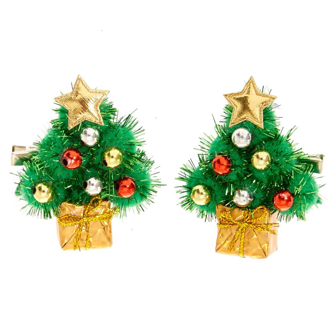 Tinsel Christmas Tree Hair Clips Get Into The Holiday Spirit With Our Tinsel Christmas T Tinsel Christmas Tree Christmas Tree Hair Christmas Tree Decorations