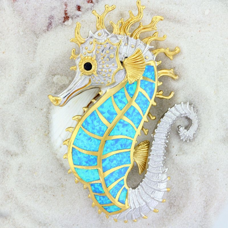 Huge Sterling Silver Created Opal Seahorse by Kovel
