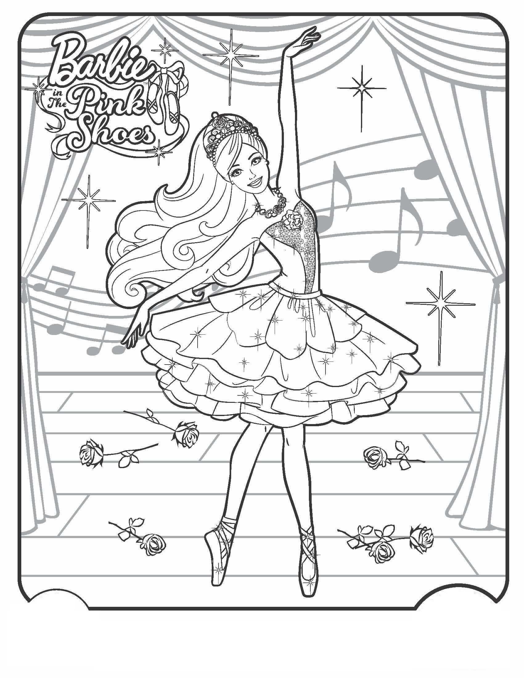 Barbie ballet coloring page