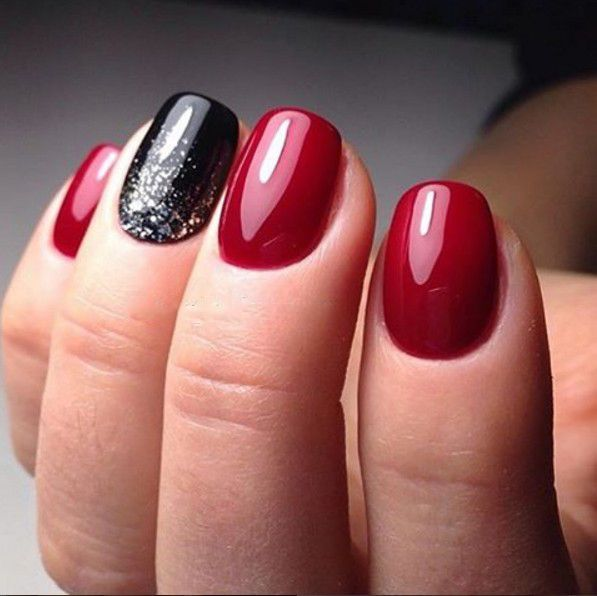 cool Short Nail Art Red Color Gold Dots by http://www.nail - Cool Short Nail Art Red Color Gold Dots By Http://www.nail-artdesign