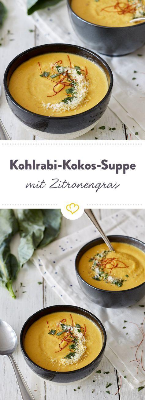 Herzhaft-süße Kohlrabi-Kokos-Suppe mit Zitronengras