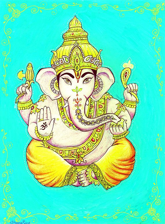Ganesha Painting Turquoise Blue Wall art decor, Ganesha Poster ...