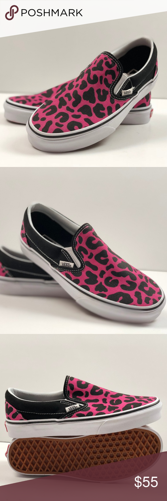 f4c9fbad22d514 Vans Classic Slip-on Leopard Pink Black Sneakers. Vans Classic Slip-on