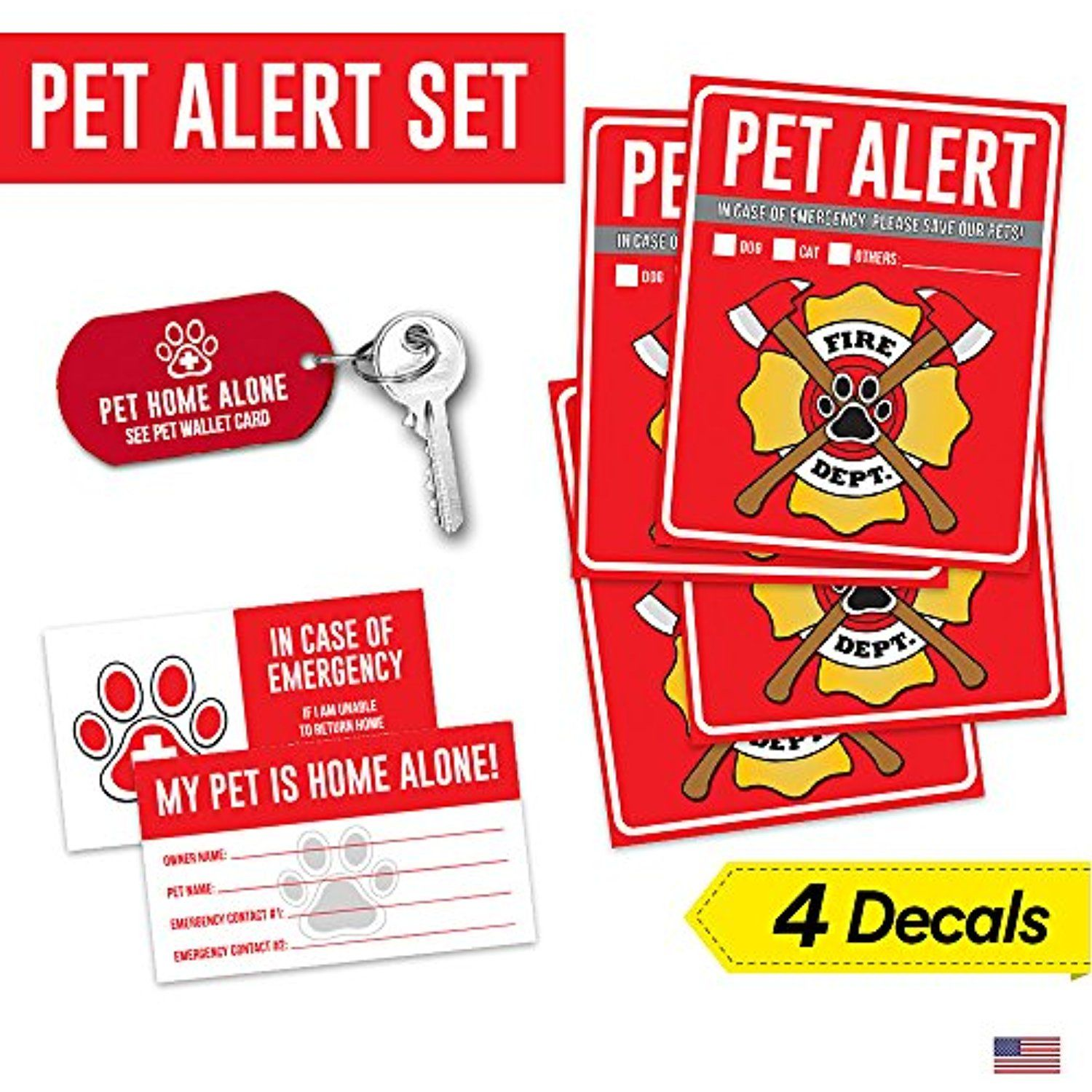 Pet Alert Safety Fire Rescue Sticker Save Our Pets