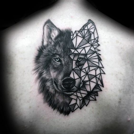 Half Realistic Half Geometric Wolf Face Upper Back Tattoo Geometric Wolf Tattoo Wolf Face Tattoo Geometric Wolf