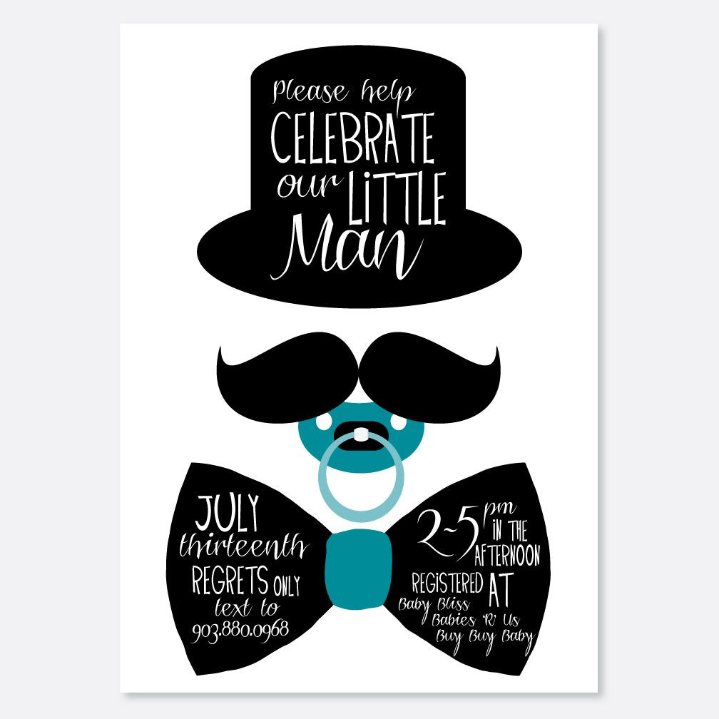 Little Man Bow Tie Baby Shower Invitations cakepins.com | Baby ...